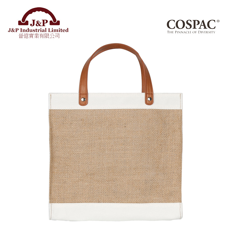 Small jute cotton canvas tote bag with PU handle