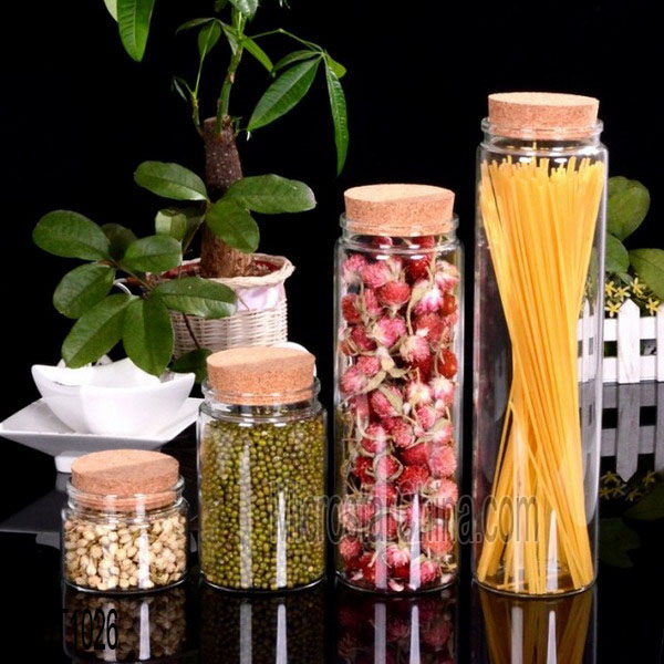 Wood Lid Clear Storage Glass Bottle Wholesale