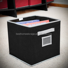 Foldable PP Non-woven Fabric Drawer Label Storage Box With Durable Handle,(Black)