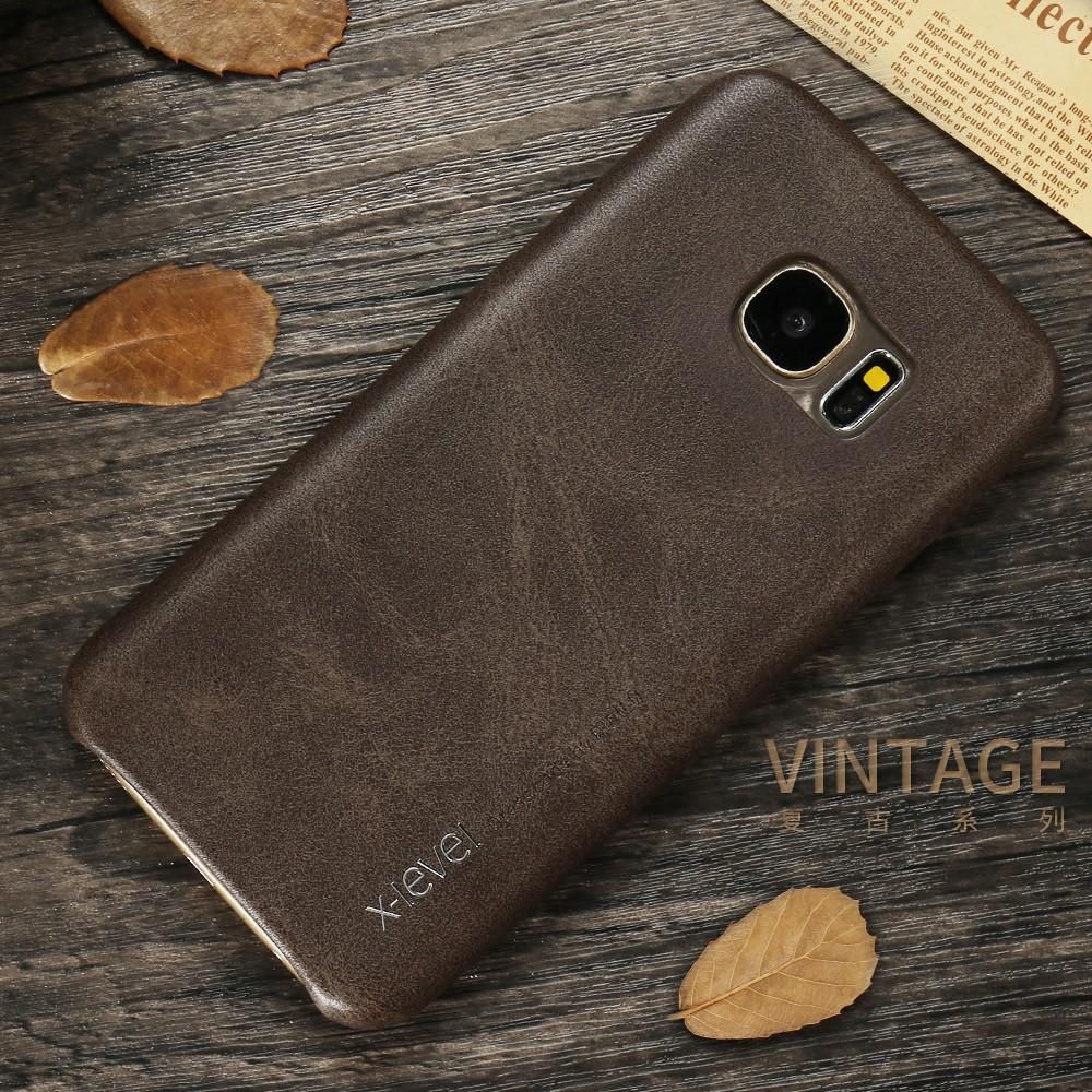 X-level Luxury Vintage PU leather Back cover phone case For Samsung S7 edge