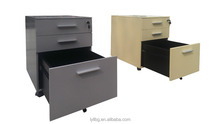 Ultra- quiet pulley steel mobile pedestal / 3 drawers metal filing cabinet