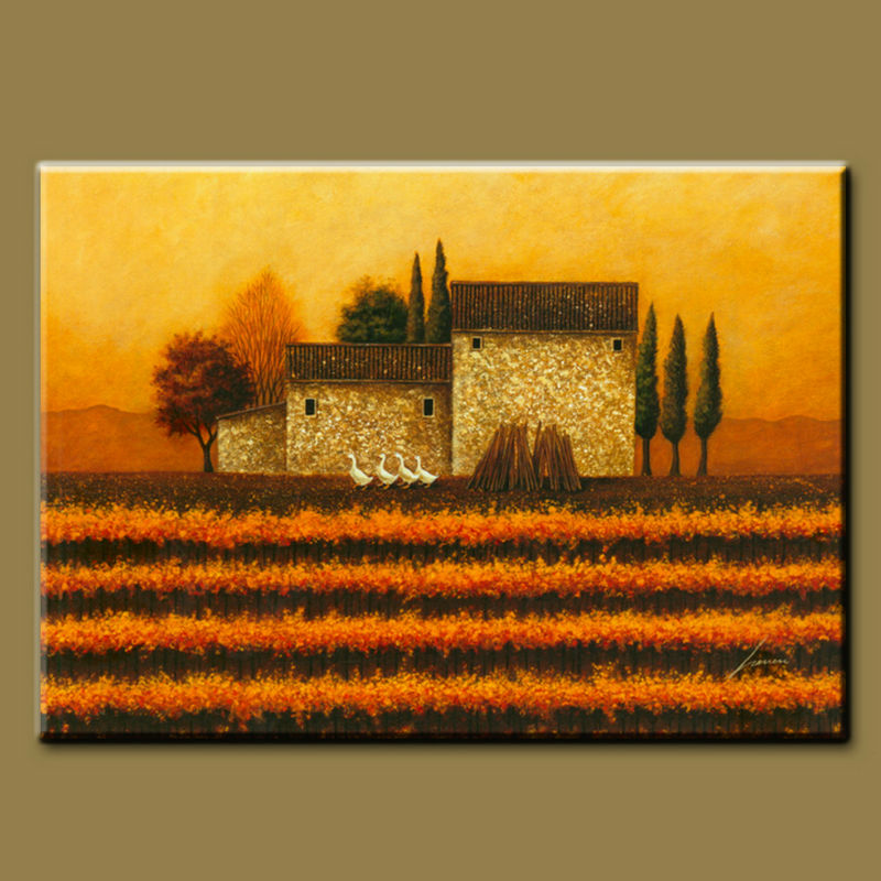 Green field handpainted tuscany italian vineyard landscape oil painting