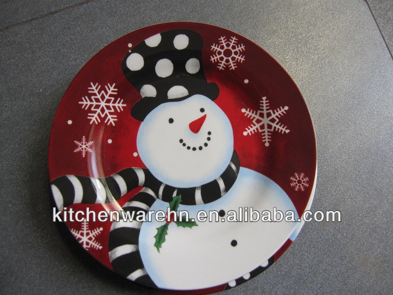 Haonai 2015 hot sale!hand painting ceramic Christmas plate