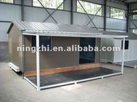 living and comfortable prefab house with awning