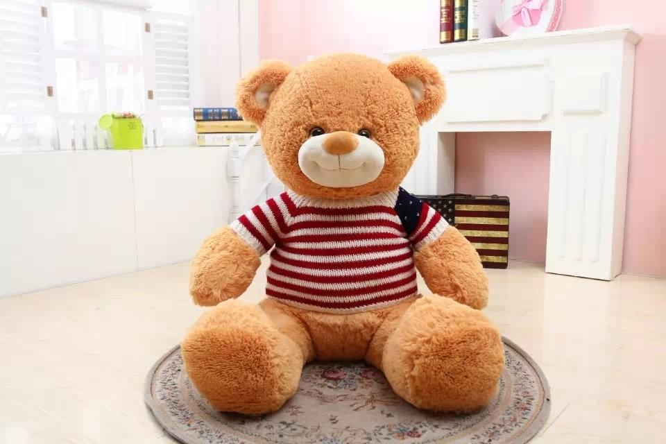 China Manufacture Stuffed Soft Animal Toy Plush Sweater Teddy Bear with smiling mouth