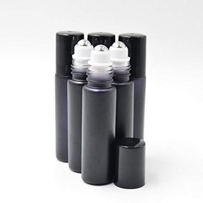 Black colored Glass Roll On Bottles 10 ml for essential oils with black lids also