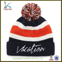 custom wholesale high quality design your own logo 100% acrylic embroidered knitted beanie hat with pom pom