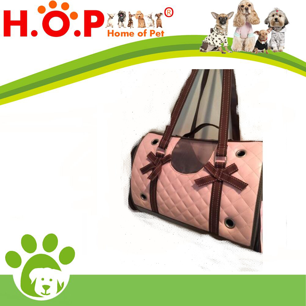 Road Companion Pink Brown Bows Quilted Small Pet Dog Carrier Bag 9.5x8x16.75
