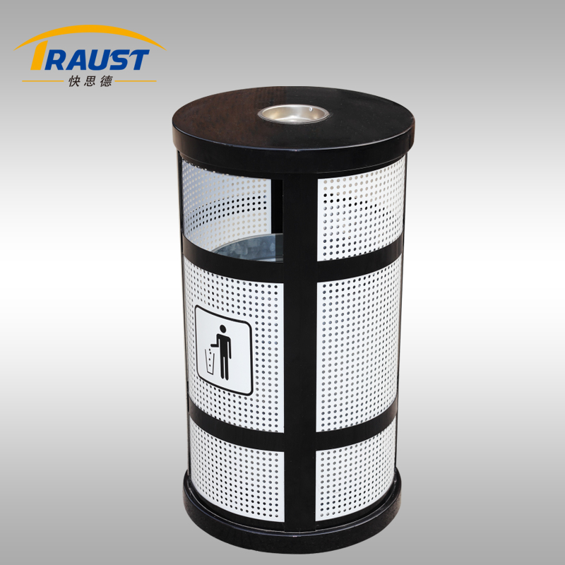 Public Area Metal Rubbish Bin With Ashtray Stand For Shopping Mall Use
