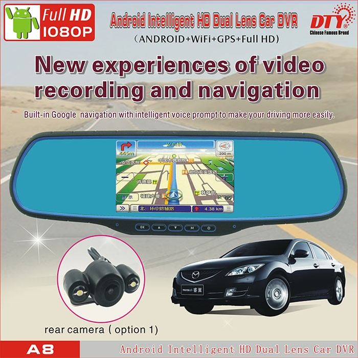 DTY Android car wireless rearview mirror with reversing camera, rear view mirror camera car dvr , A8