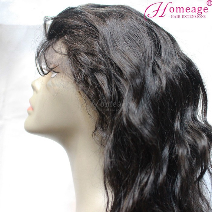 Homeage 100% natural brazilian hair full lace wig short white cosplay wig