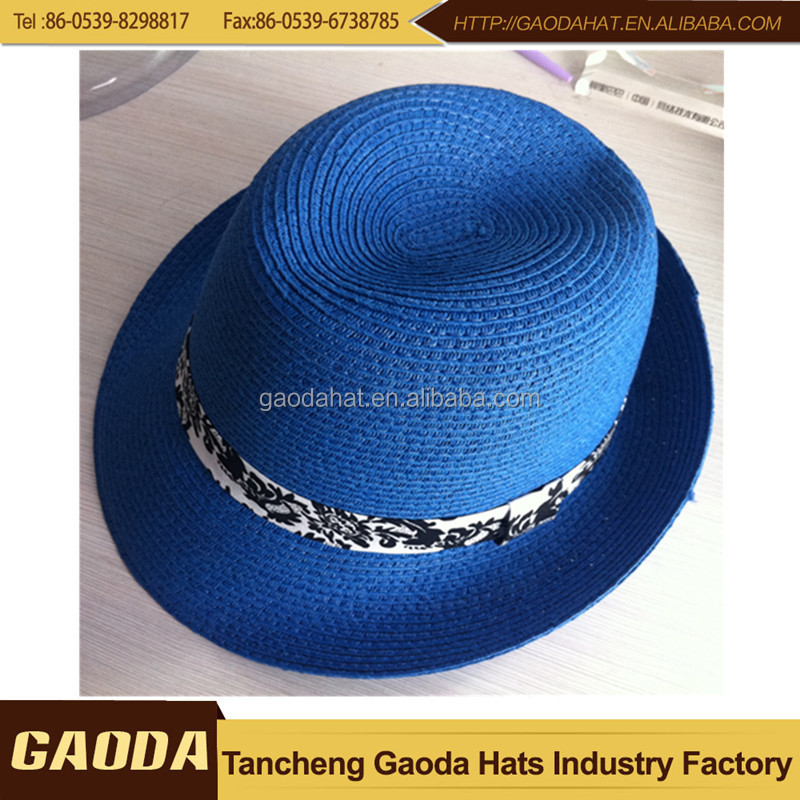 New Design Navy Blue Straw Fedora Hats For Summer