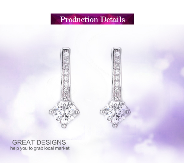 Elegant design cz stone setting silver 925 ladies crystal earring