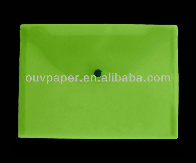 office supplies plastic file folder button closure ,envelope