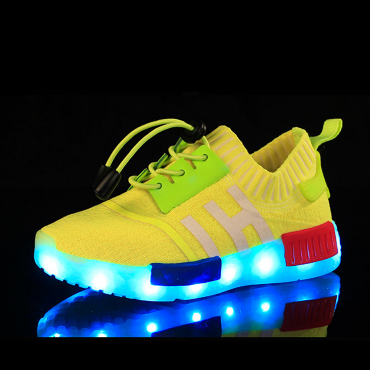 Kids coconut Led light yellow sport shoes glow sneakers running shoes