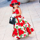 Boutique kids party dress evening long dress susupender big flower baby girls dress