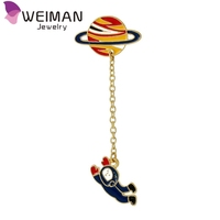 2016 Fashion enamel spaceman planet charm costume brooch pins jewelry