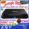 latest Android 4.4 TV Box UHD, 4K , DRM Android 4.4 with Xbmc 1080p aml8726-S812 network set-top box