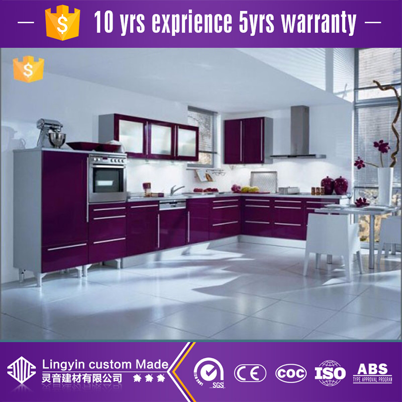 factory in Guangzhou modular high gloss purple lacquer kitchen cabinet unit china kitchen cabinet