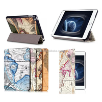 For iPad Mini 4 Case Luxury World Map Magnetic Folio PU Leather Case Cover With Stand Holder