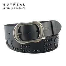Plug Size Stainless Steel Buckle Black Genuine Cow Leather Leisure Belt for Men