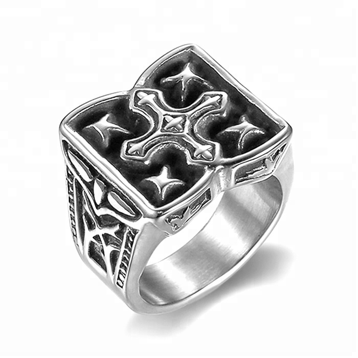 Custom design cool iron cross ring castings for men 316 steel mold casting rings men <strong>silver</strong>(HF-105)