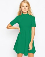 Haohoo Hotsale Skater Dress with Empire Seam and Button Detail