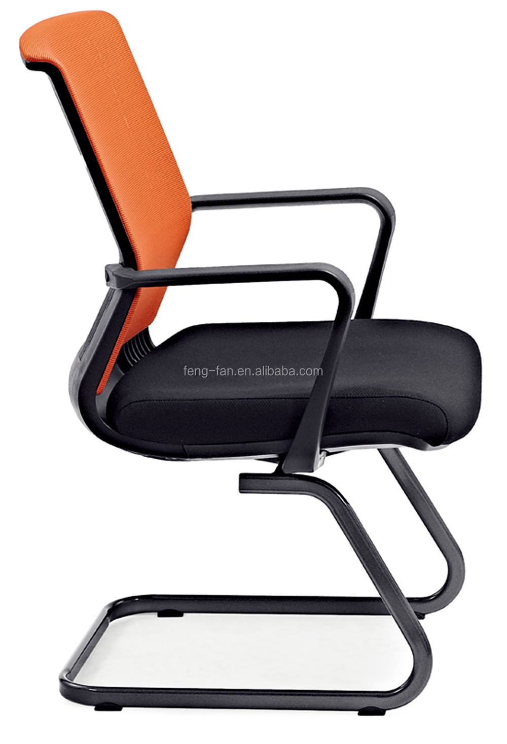 metal shelf legless unfolding low back fabric conference office chair