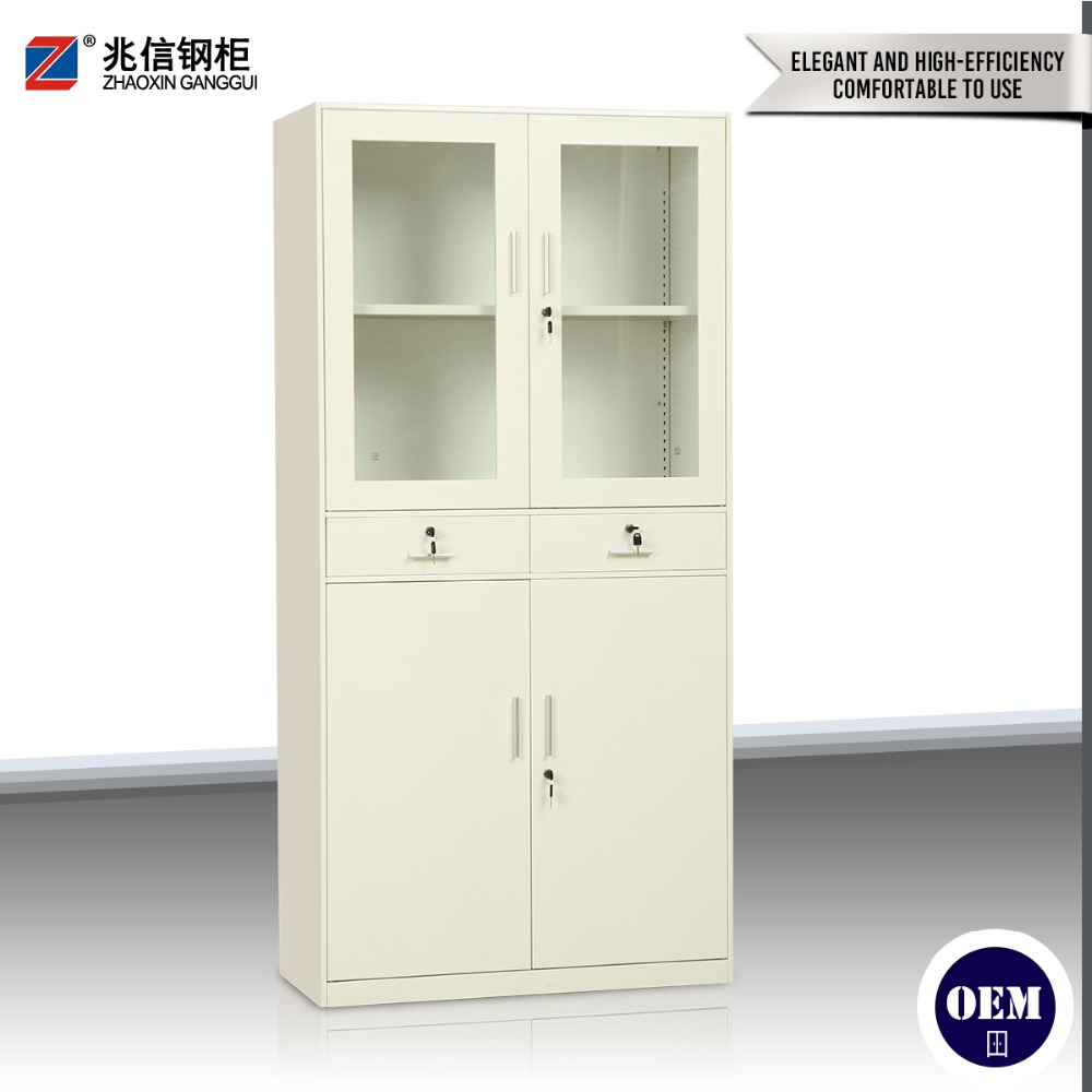Cheap metal three-piece appliances steel file cabinet up swing glass door key lock cabinet with two drawers display cabinet