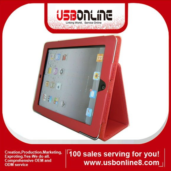 For New iPad 2 3 iPad3 Premium Leather Case Hard Cover Pouch Flip Stand Red