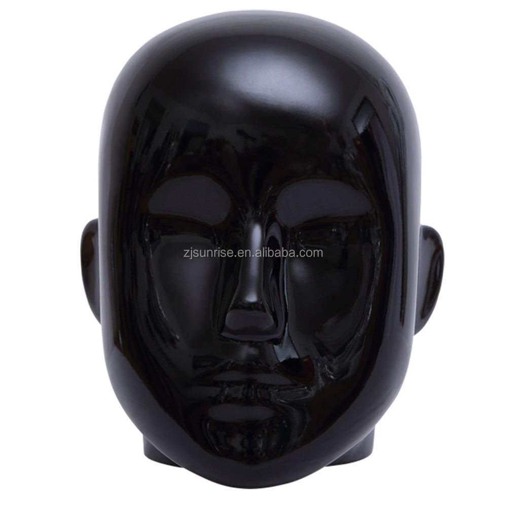 Black glossy male bald mannequin head