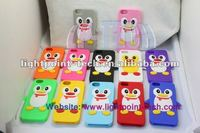 Silicone Smartphone Cover,3d Penguin Case for iPhone 5 5G