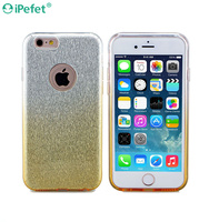 Glitter Bling Flash Powder Clear TPU Hard PC 3 In 1 Gradient Color Cell Phone Case For iPhone 5,For iPhone 6