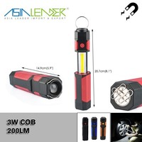 For Working, Emergency, 4 Brightness Level 4*AAA Battery 200LM 3W COB+1 LED Retractable LED Work Light