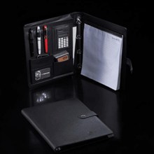 Multi use black leather folder portfolio with calculator