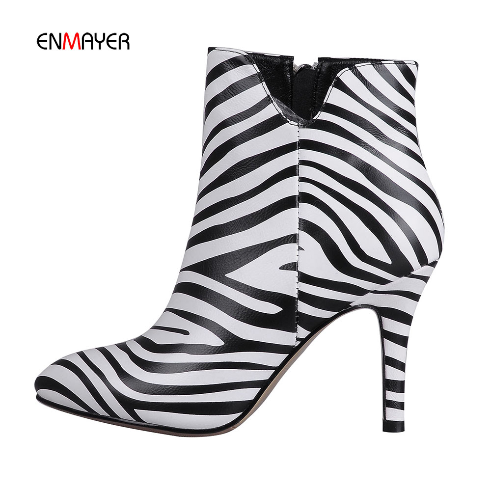 American fashion top layer leather zebra stripe high heel women short boots