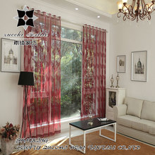 "USD9.9/PC size 50""x84"" CNF 1PC send or customized .2016 New voile embroidered curtain Leaf Pattern Tulle Curtains"