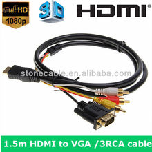 New 1.5M 5FT HDMI HDTV to VGA HD15 Y/Pb/Pr 3 RCA Adapter Cable