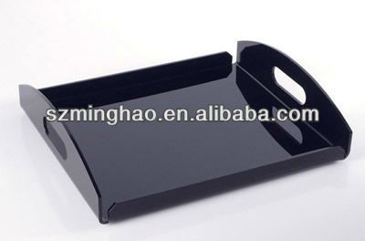 black PMMA acrylic Banquet serving tray with handle