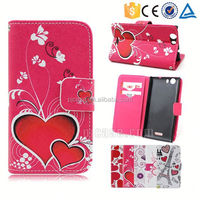 Color printing leather with card slots mobile phone accessory for Touch E88