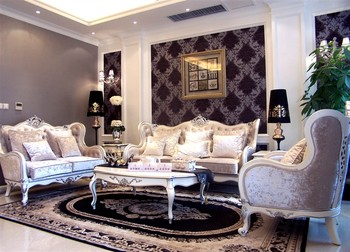 European royal wooden living room sofa set of gray and white color