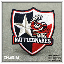 wholesale custom rattlesnakes embroidered badges