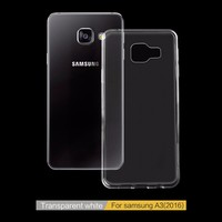 Factory Price LOGO Print Gloss Transparent TPU Phone Case For Samsung Glalaxy A3