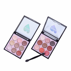 Low MOQ Sweetheart Peach Blossom Makeup Style 9 Colors Glitter Eyeshadow Palette