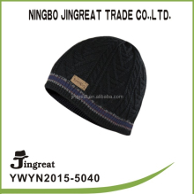 leather label beanie knitted hats for child baby acrylic