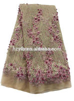 2016 Embroidery crystal embroidered dress fabric lady dress African French lace fabrics embroidery fabric floral