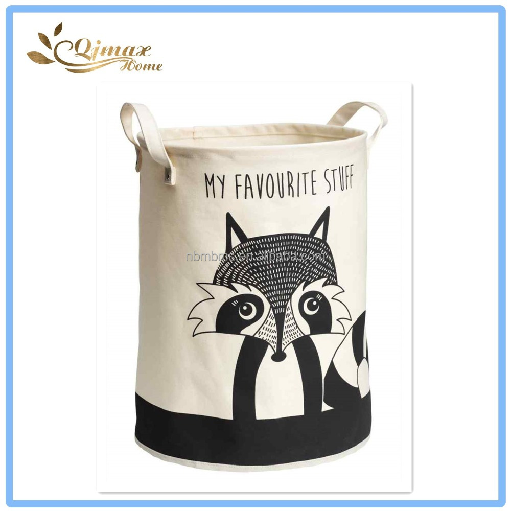 Cute Kids Room Canvas Animal Laundry Basket