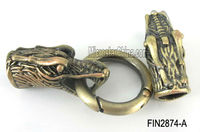 Antique bronze snake metal toggle clasps for 9*8.5mm leather cord bracelet