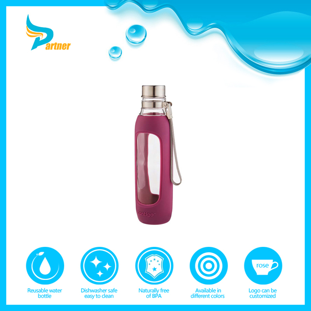 Honest and reliable reusable sport voss glass water bottle with metal lid