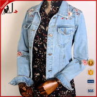 2017 New Arrival Spring Fashion Short Embroidered The Jean Jacket for Women
